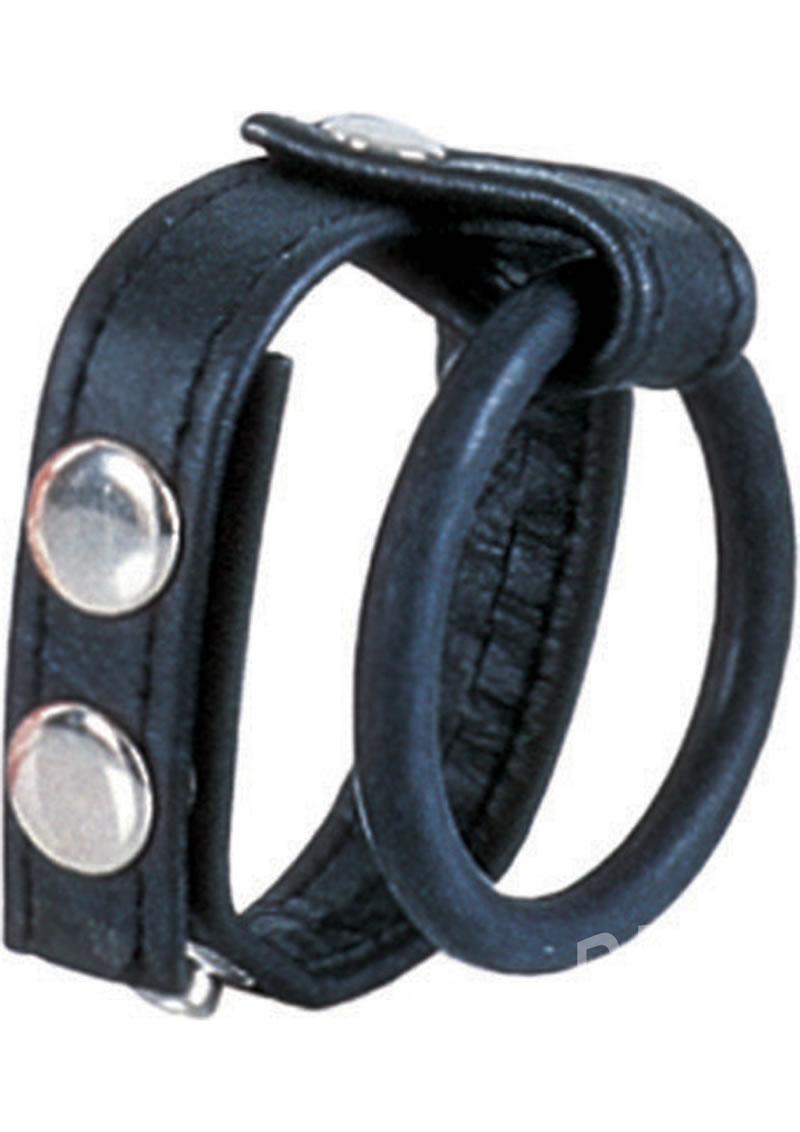 Detailed image of Ball Spreader Leather Cock Ring Harness