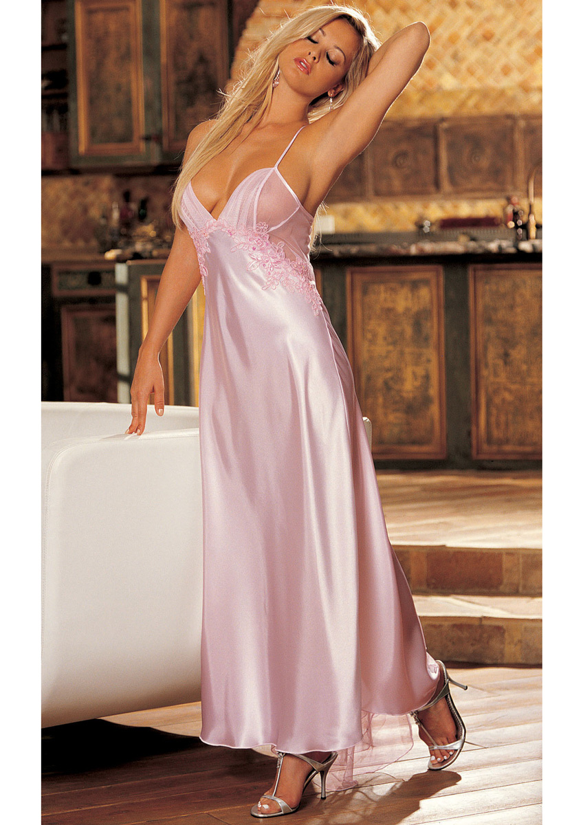 Detailed image of Bridal Charmeuse and Sheer Net Long Gown Pink