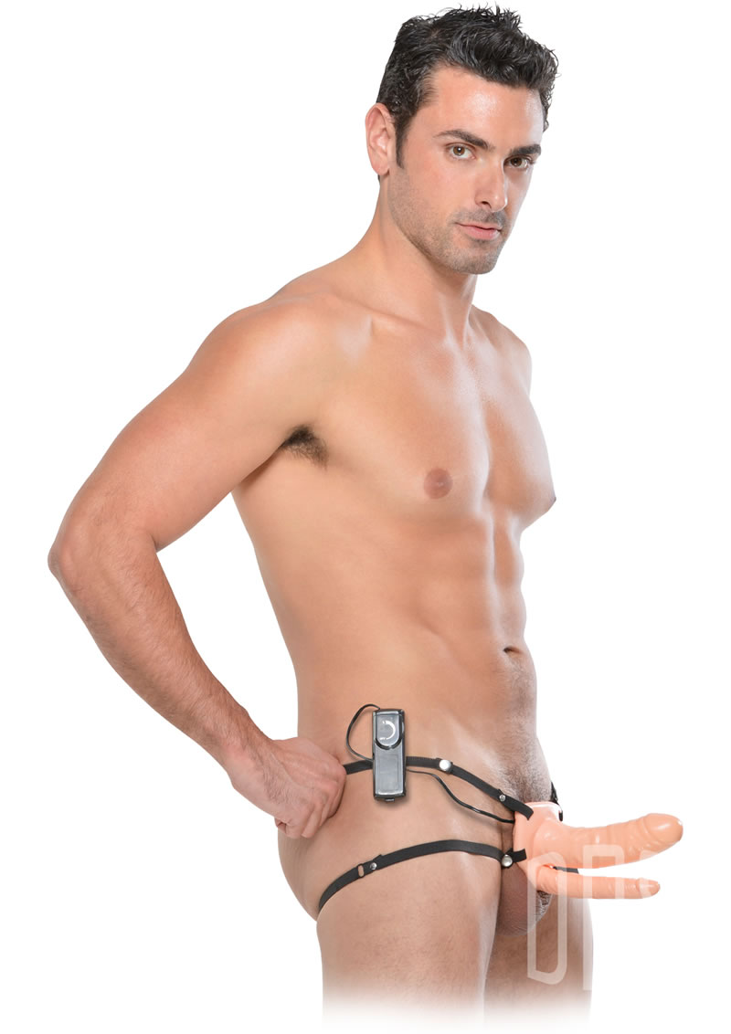 Detailed image of 6 Inch Double Penetrator Vibrating Hollow Strap-On