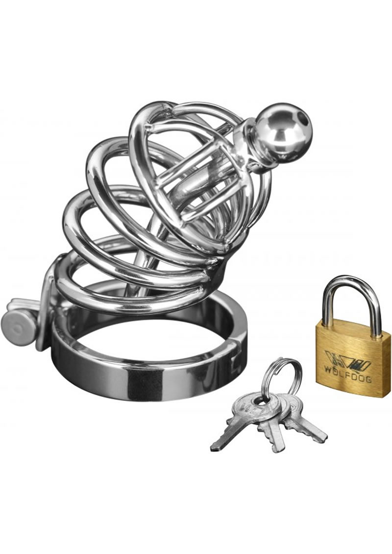 Detailed image of 4 Ring Locking Chastity Cock Cage