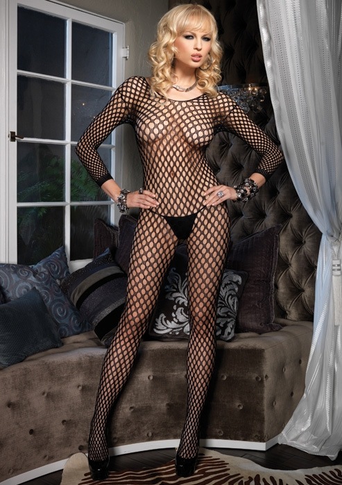 Detailed image of Ring Hole Long Sleeve Open Crotch Bodystocking