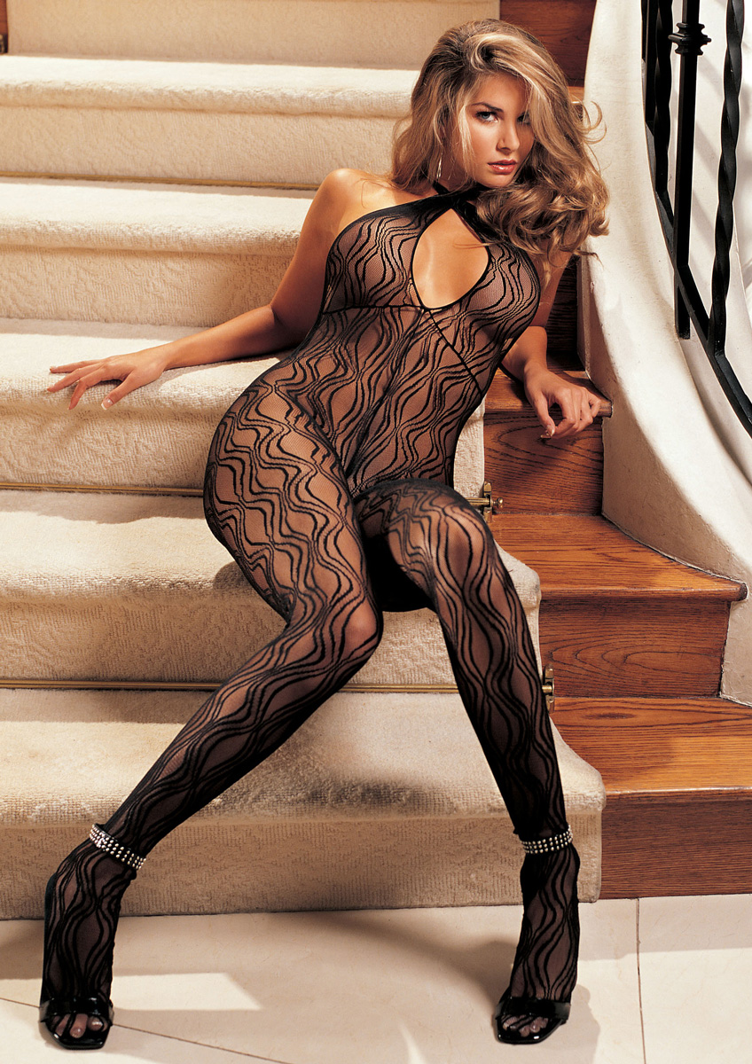 Detailed image of Swirl Lace, Halter Body Stocking, Open Front