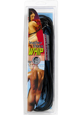 back - Black Leather Thong Whip - 30 Inches Long