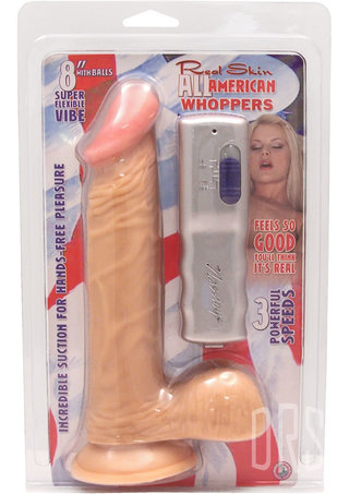 back - All American Vibrating Whopper 8 Inch Penis with Balls