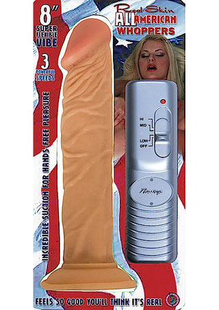 Front of Package - All American Whopper 8 Inch Vibrating Dildo