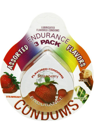 Large Photo of Flavored Endurance Condom 3 Pack