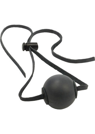 Large Photo of Black Rubber Ball Gag with Leather Straps