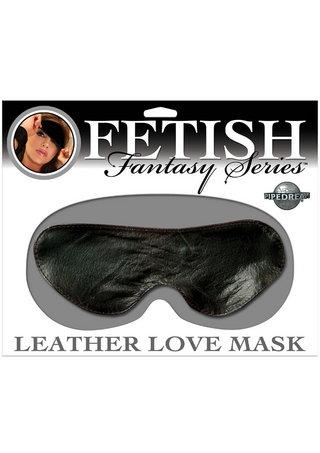 Large Photo of Black Leather Love Mask Blindfold