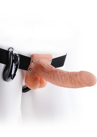 Large Photo of 7 Inch Vibrating Hollow Strap-On with Balls
