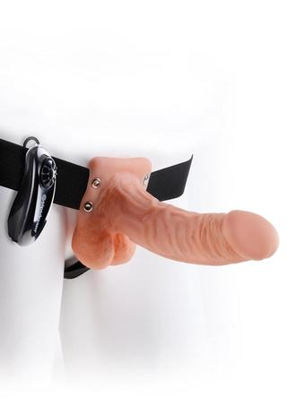 back - 7 Inch Vibrating Hollow Strap-On with Balls