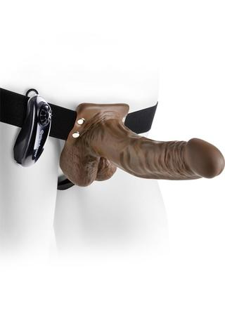 Large Photo of 7 Inch Vibrating Strap-On with Balls