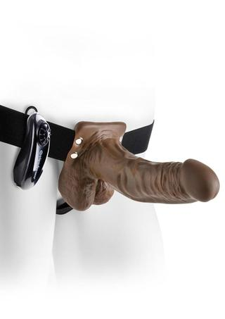 back - 7 Inch Vibrating Strap-On with Balls