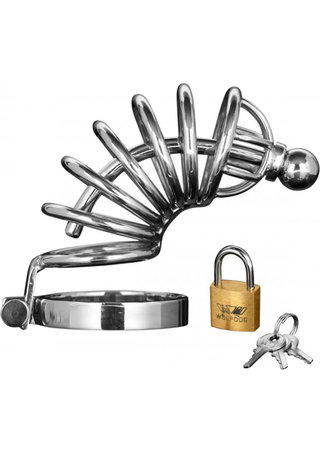 Large Photo of 6 Ring Locking Chastity Cock Cage