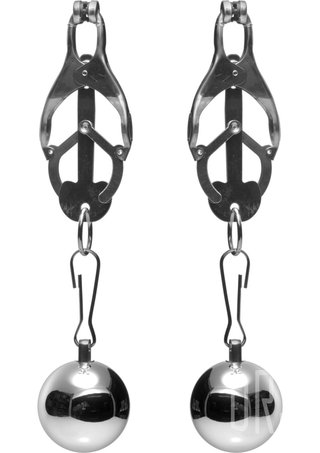 back - Deviant Monarch Clover Nipple Clamps with Weights