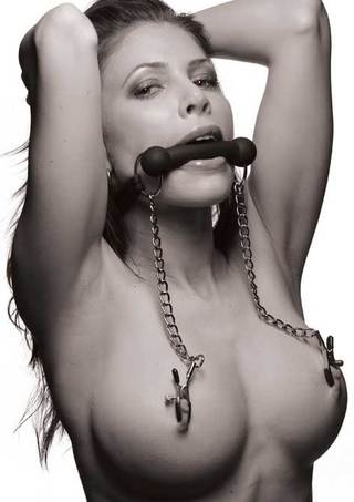 Model View - Equine Silicone Bit Gag with Nipple Clamps