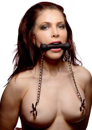 Large Photo of Equine Silicone Bit Gag with Nipple Clamps