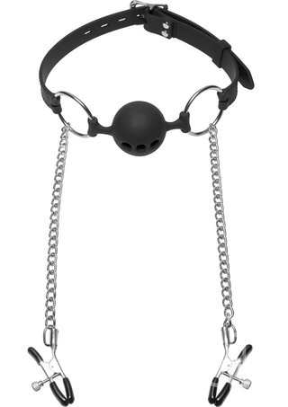 back - Hinder Breathable Silicone Ball Gag with Nipple Clamps