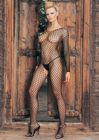 Additional View - Ring Hole Long Sleeve Open Crotch Bodystocking