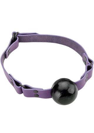 Large Photo of Crave Violet Leather Ball Gag 1.5 Inch Ball