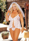 Bridal Peek-A-Boo Babydoll Set with Veil - Plus Size