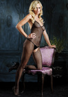 Seamless Fishnet Halter V Back Bodystocking