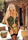 Stretch Lace Overlay Bustier Set - Plus Size